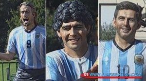 Maradona Messi Batistuta sculpture